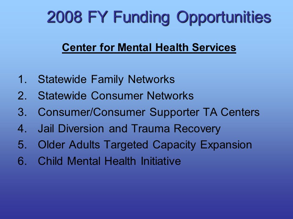 2008 FY Funding Opportunities Center for Mental Health Services 1.Statewide Family Networks 2.Statewide Consumer Networks 3.Consumer/Consumer Supporte