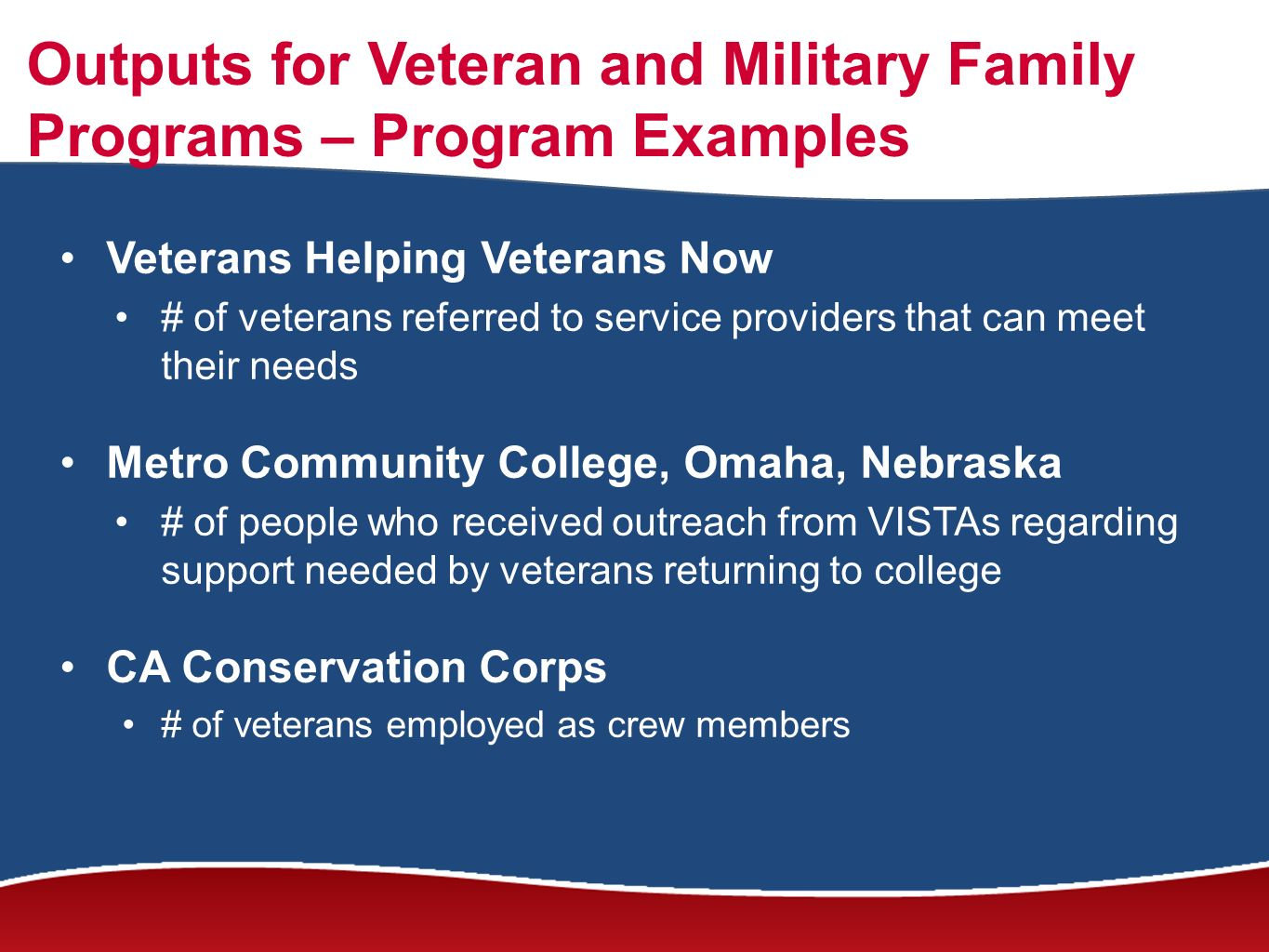 Outputs for Veteran and Military Family Programs – Program Examples Veterans Helping Veterans Now # of veterans referred to service providers that can meet their needs Metro Community College, Omaha, Nebraska # of people who received outreach from VISTAs regarding support needed by veterans returning to college CA Conservation Corps # of veterans employed as crew members