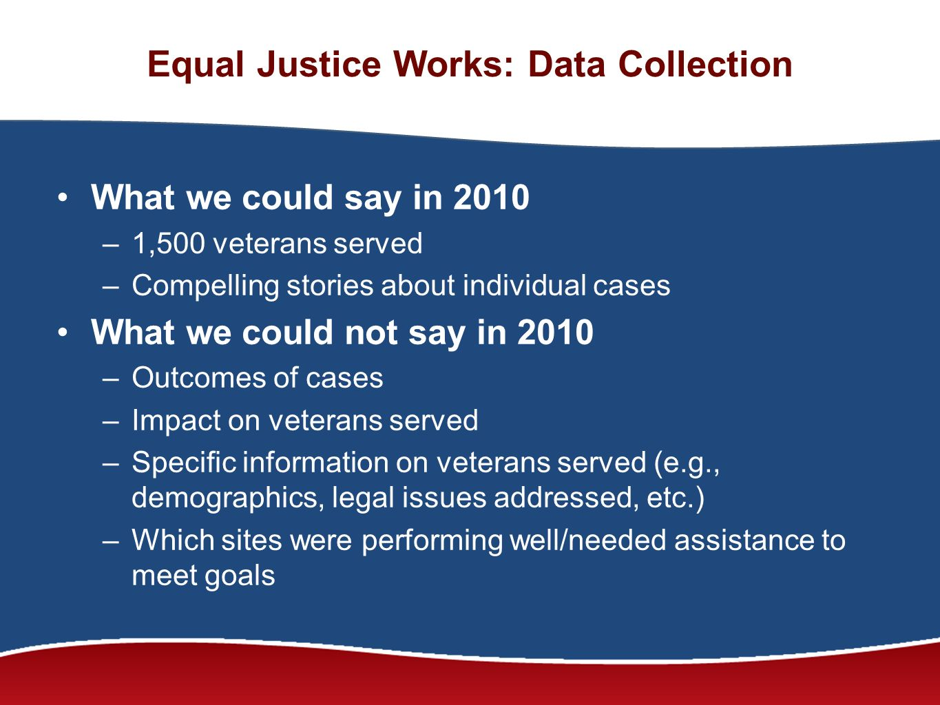 Equal Justice Works: Data Collection What we could say in 2010 –1,500 veterans served –Compelling stories about individual cases What we could not say in 2010 –Outcomes of cases –Impact on veterans served –Specific information on veterans served (e.g., demographics, legal issues addressed, etc.) –Which sites were performing well/needed assistance to meet goals