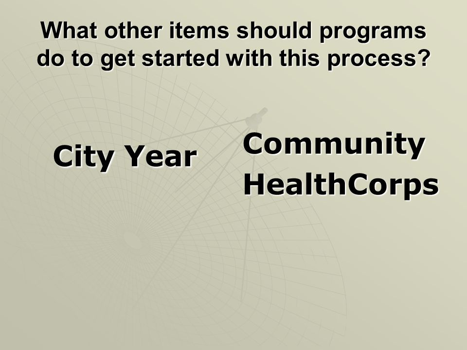 What other items should programs do to get started with this process.