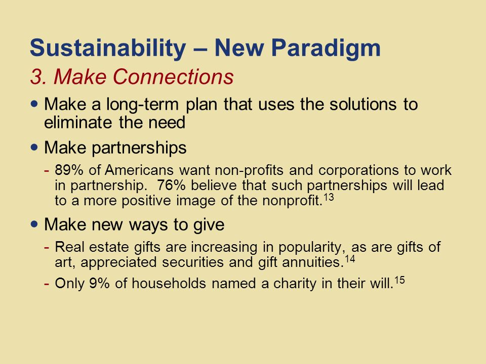 Sustainability – New Paradigm Identify the stakeholders in the community Identify decision-makers and people of influence Identify potential solutions involving everyone in the process as equal partners Identify the resources needed to achieve the solution(s) 2.