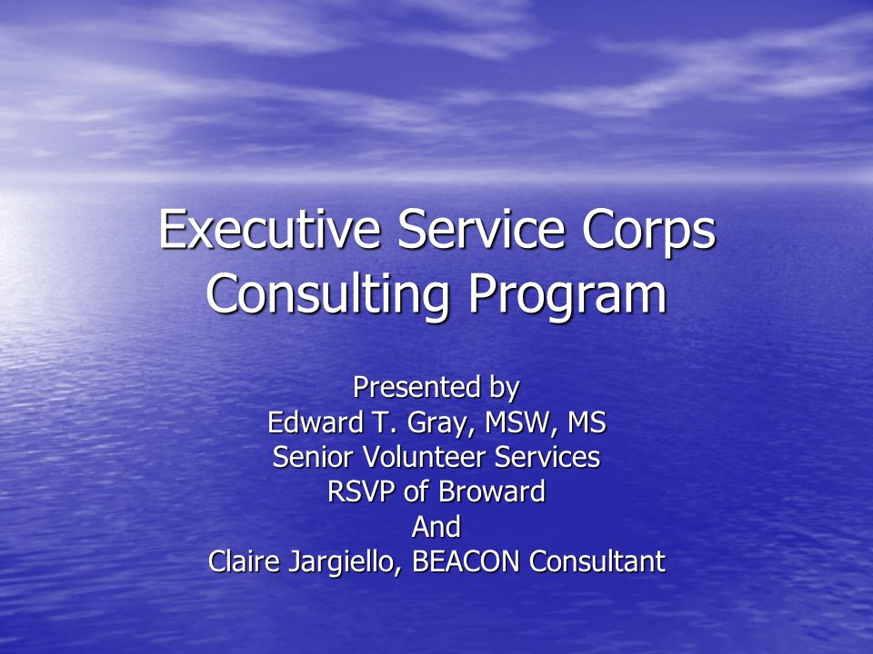 Executive Service Corps Consulting Program Presented by Edward T. Gray, MSW, MS Senior Volunteer Services RSVP of Broward And Claire Jargiello, BEACON