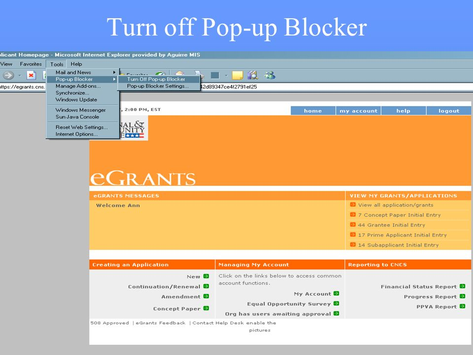 2 Turn off Pop-up Blocker