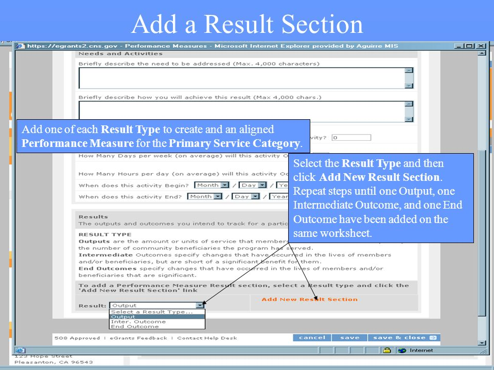 30 Add a Result Section Select the Result Type and then click Add New Result Section.