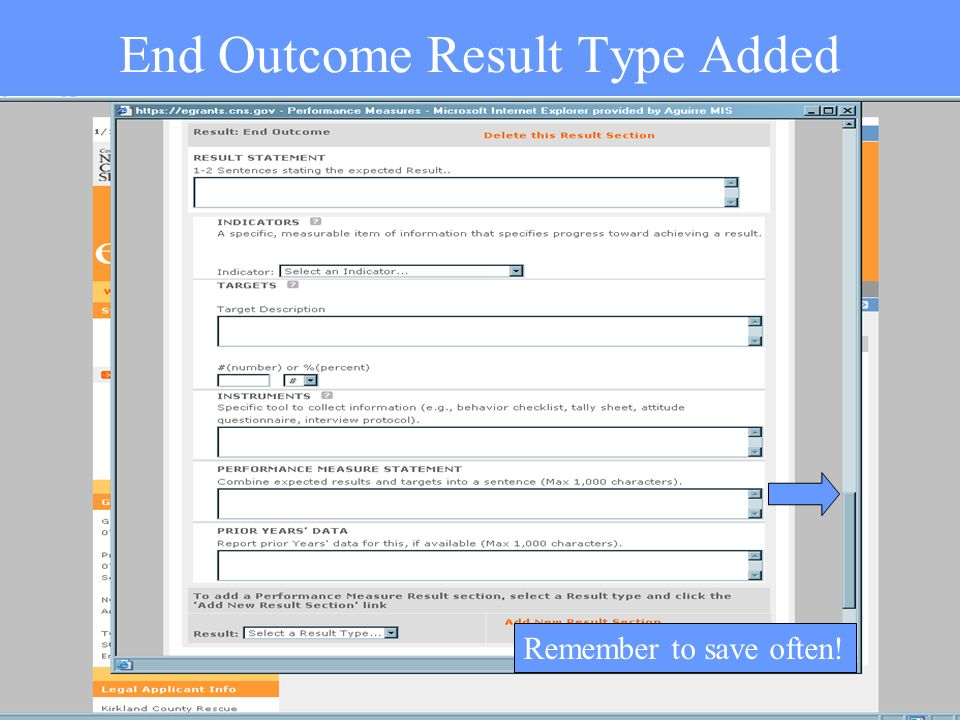 33 End Outcome Result Type Added Remember to save often!