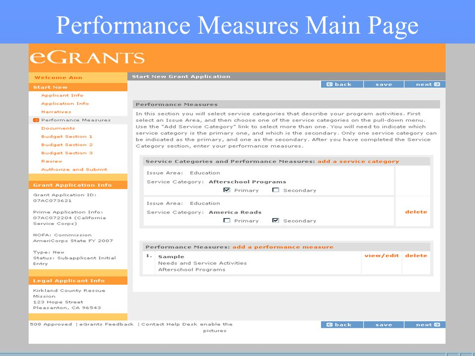 34 Performance Measures Main Page