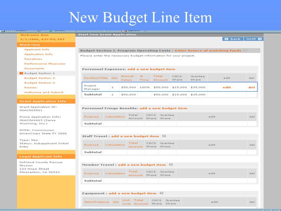 39 New Budget Line Item