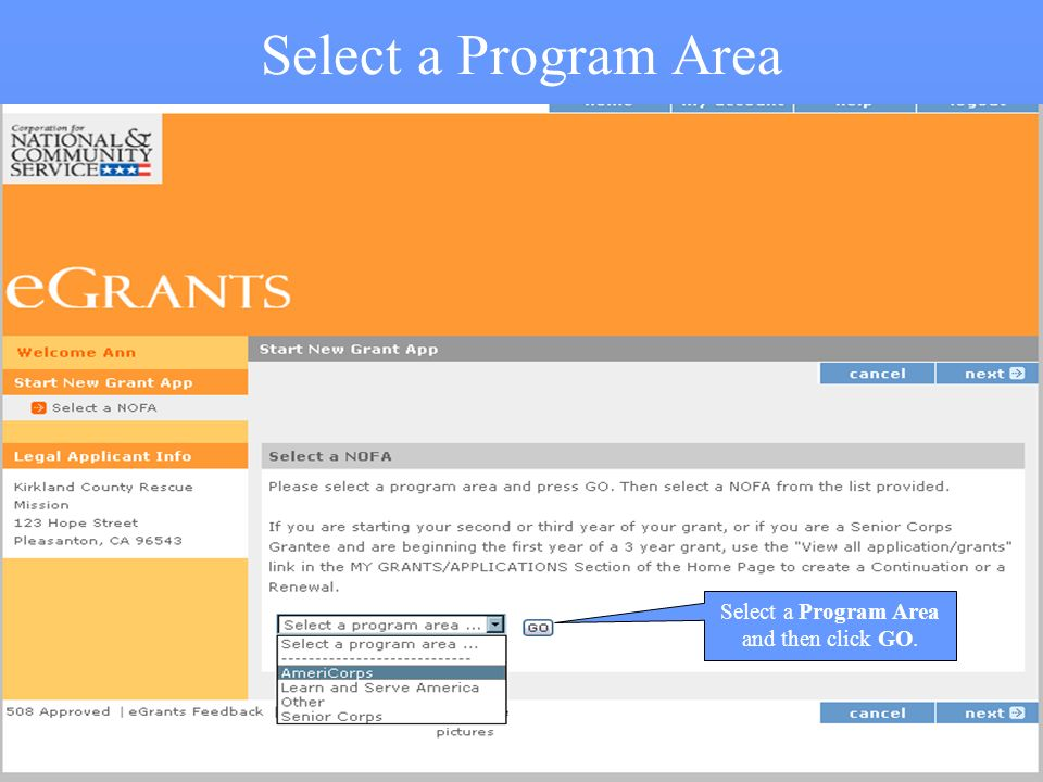 4 Select a Program Area Select a Program Area and then click GO.
