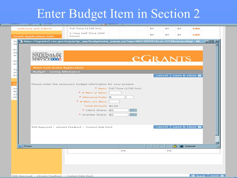 41 Enter Budget Item in Section 2