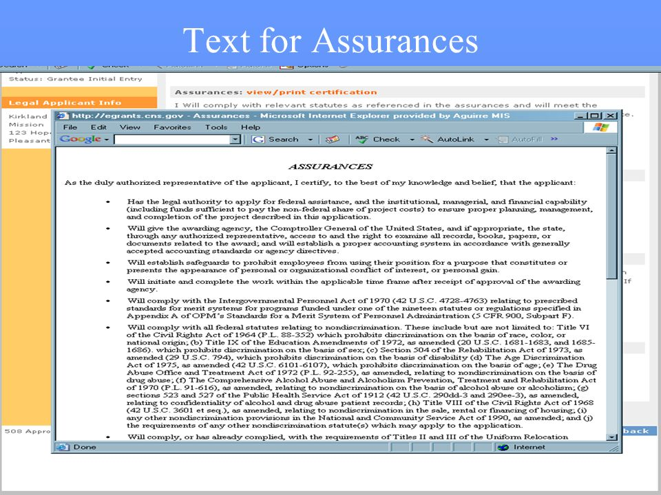 48 Text for Assurances