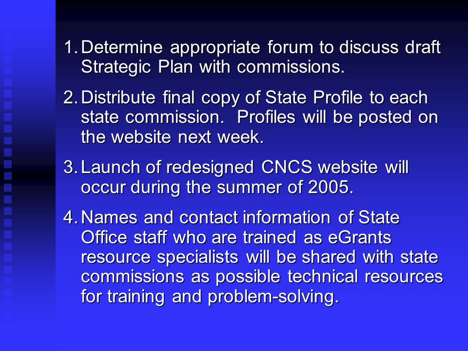 1.Determine appropriate forum to discuss draft Strategic Plan with commissions. 2.Distribute final copy of State Profile to each state commission. Pro