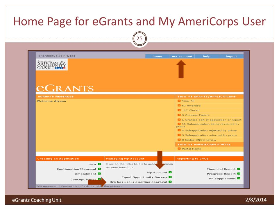 Home Page for eGrants and My AmeriCorps User 25 2/8/2014 eGrants Coaching Unit