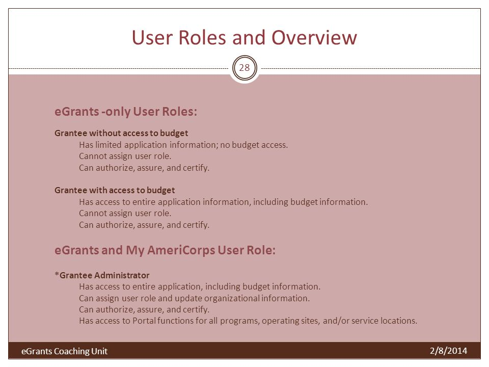 User Roles and Overview 28 2/8/2014 eGrants -only User Roles: Grantee without access to budget Has limited application information; no budget access.