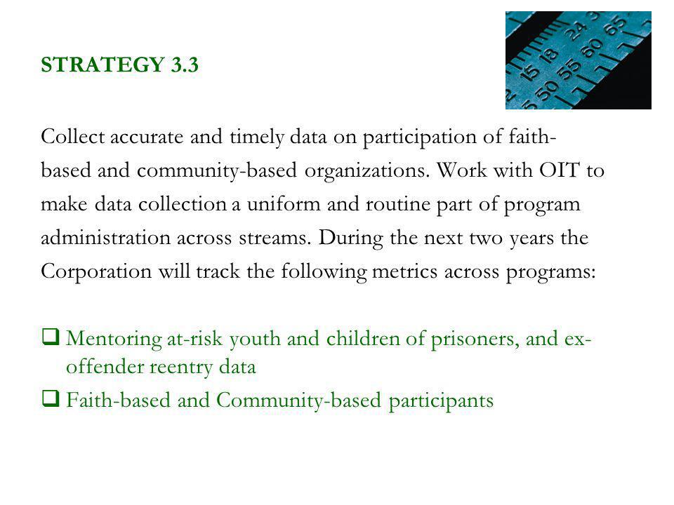 STRATEGY 3.3 Collect accurate and timely data on participation of faith- based and community-based organizations.
