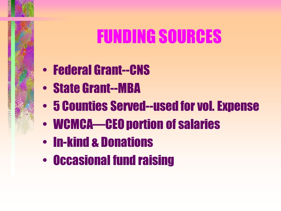 FUNDING SOURCES Federal Grant--CNS State Grant--MBA 5 Counties Served--used for vol.