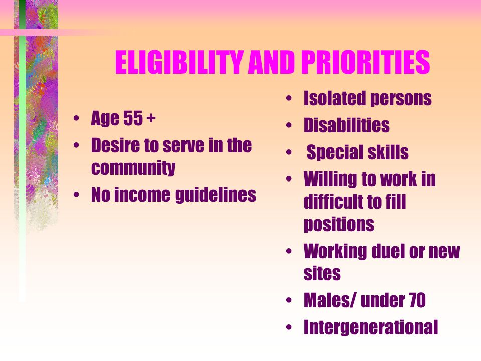 BENEFITS FOR VOLUNTEERS On the job insurance Limited reimbursements Recognition events Information, opportunities, placement