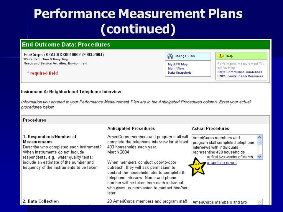 15 Performance Measurement Plans (continued)