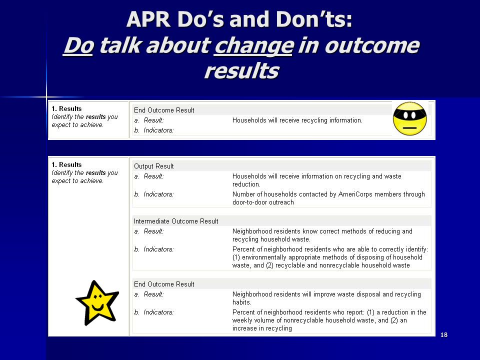 18 APR Dos and Donts: Do talk about change in outcome results