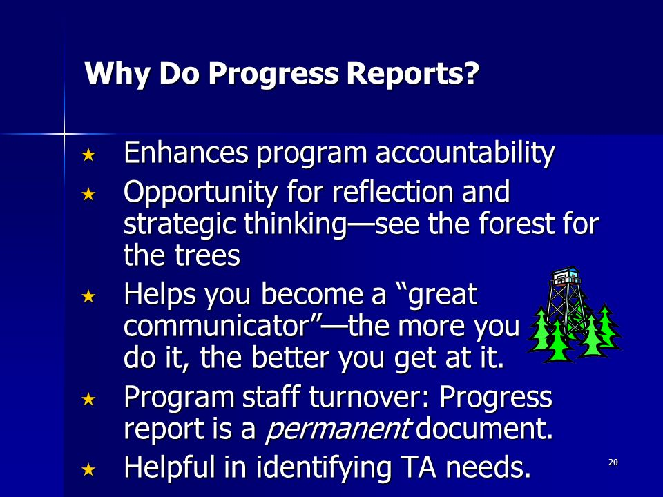 20 Why Do Progress Reports.