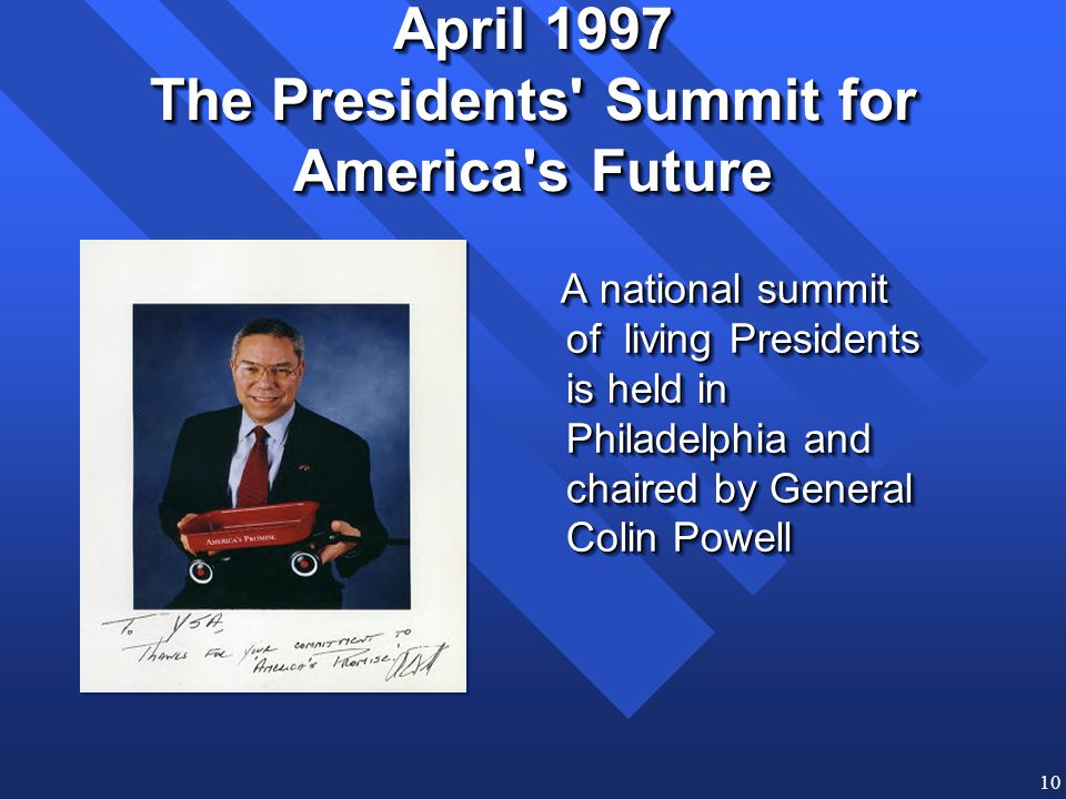 10 April 1997 The Presidents Summit for America s Future A national summit of living Presidents is held in Philadelphia and chaired by General Colin Powell A national summit of living Presidents is held in Philadelphia and chaired by General Colin Powell
