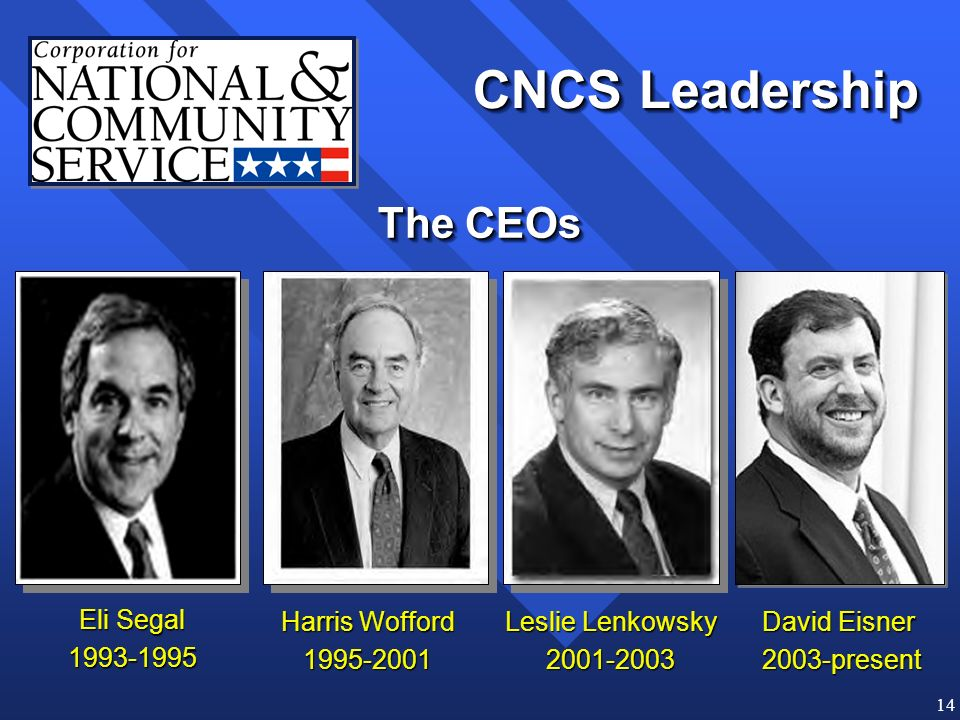 14 Eli Segal 1993-1995 Harris Wofford 1995-2001 Leslie Lenkowsky 2001-2003 David Eisner 2003-present CNCS Leadership The CEOs