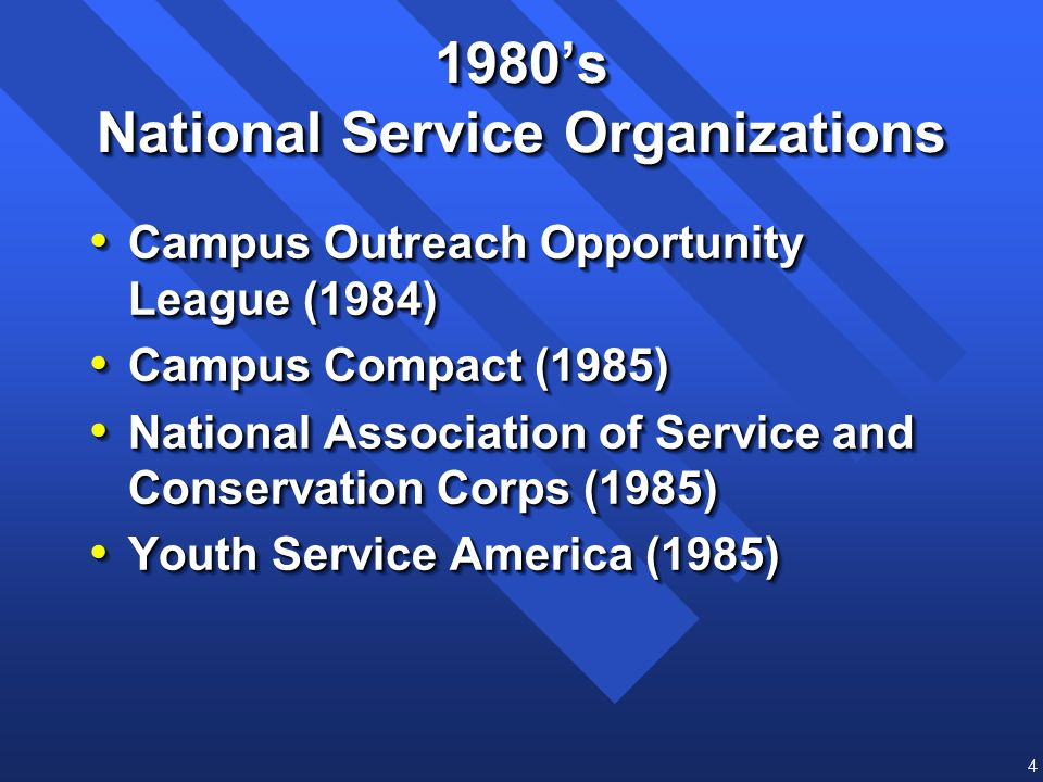 4 1980s National Service Organizations Campus Outreach Opportunity League (1984) Campus Outreach Opportunity League (1984) Campus Compact (1985) Campu