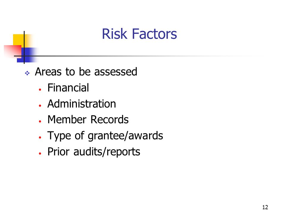 11 Establish Policies and Procedures What information will be used to measure risk? Self-Assessment General questionnaires Sample documents Past Perfo