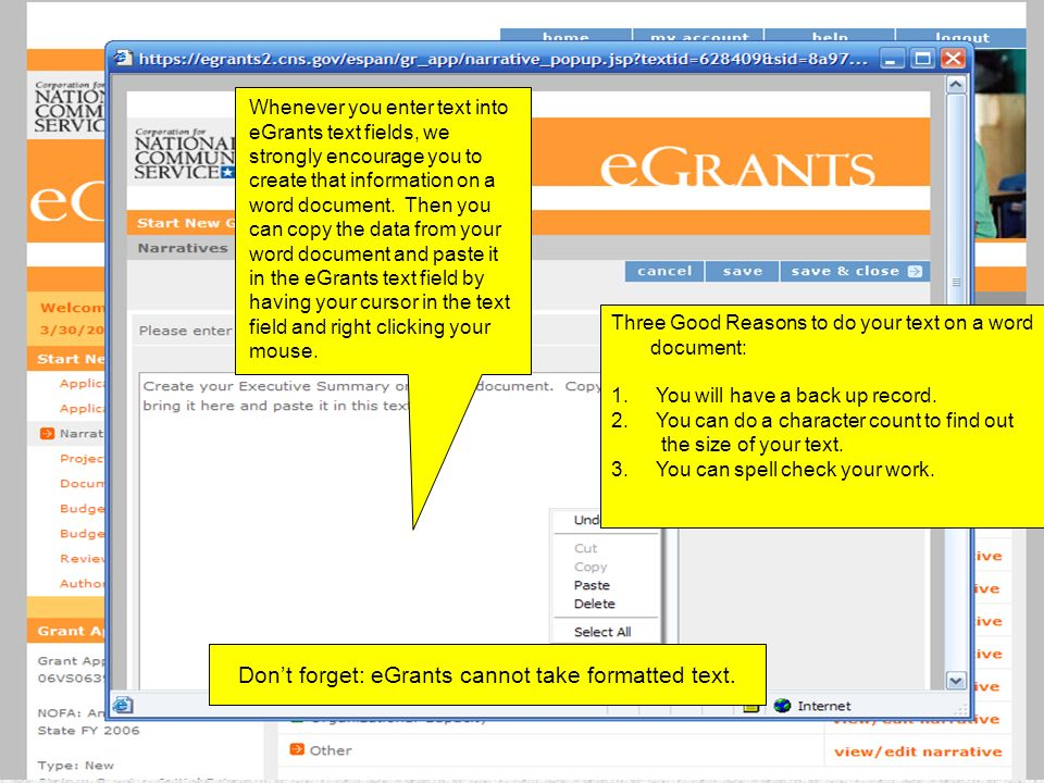 Whenever you enter text into eGrants text fields, we strongly encourage you to create that information on a word document. Then you can copy the data