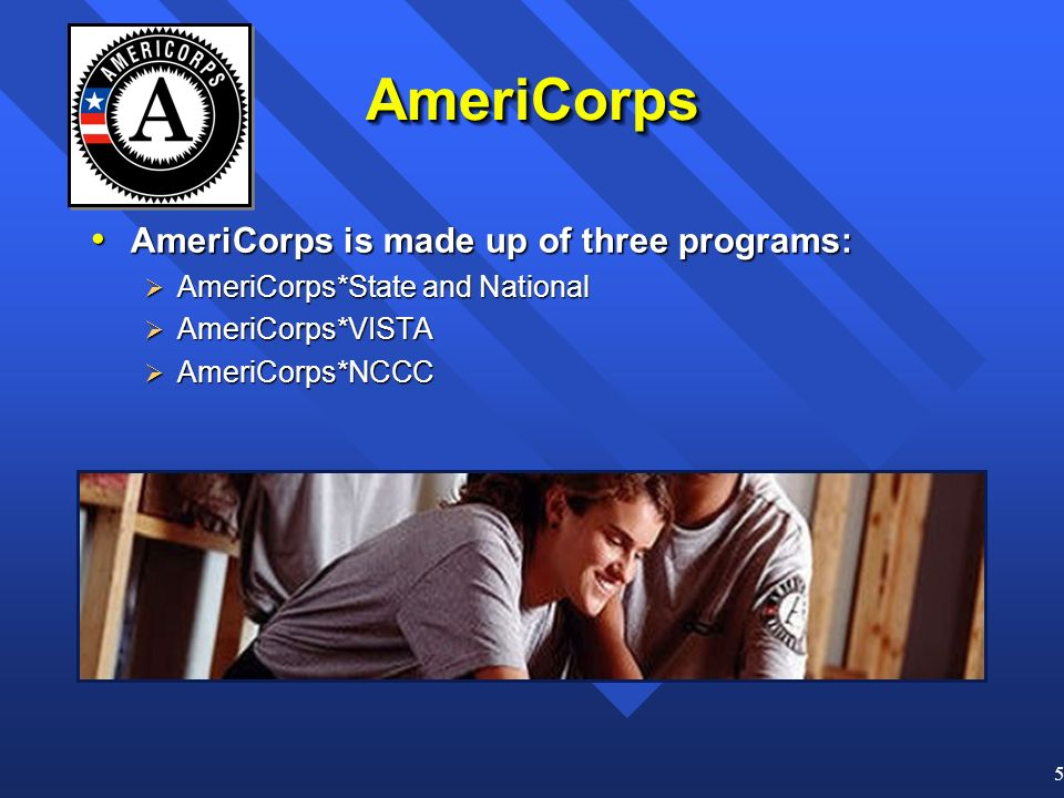 5 AmeriCorpsAmeriCorps AmeriCorps is made up of three programs: AmeriCorps is made up of three programs: AmeriCorps*State and National AmeriCorps*State and National AmeriCorps*VISTA AmeriCorps*VISTA AmeriCorps*NCCC AmeriCorps*NCCC
