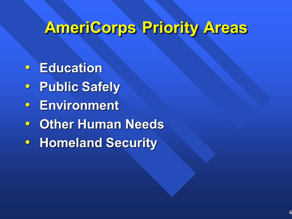 6 AmeriCorps Priority Areas Education Education Public Safely Public Safely Environment Environment Other Human Needs Other Human Needs Homeland Security Homeland Security