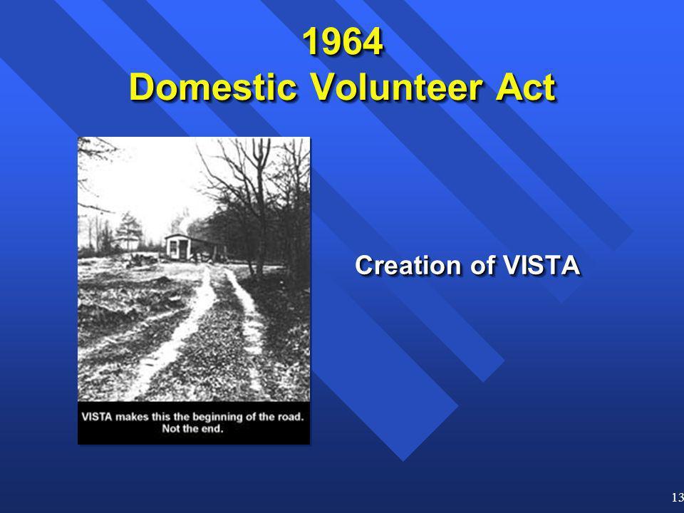 13 1964 Domestic Volunteer Act Creation of VISTA