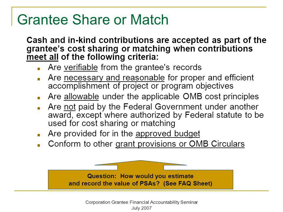 Corporation Grantee Financial Accountability Seminar July 2007 Common Audit Findings Related to Cash & In-Kind Match See Handout