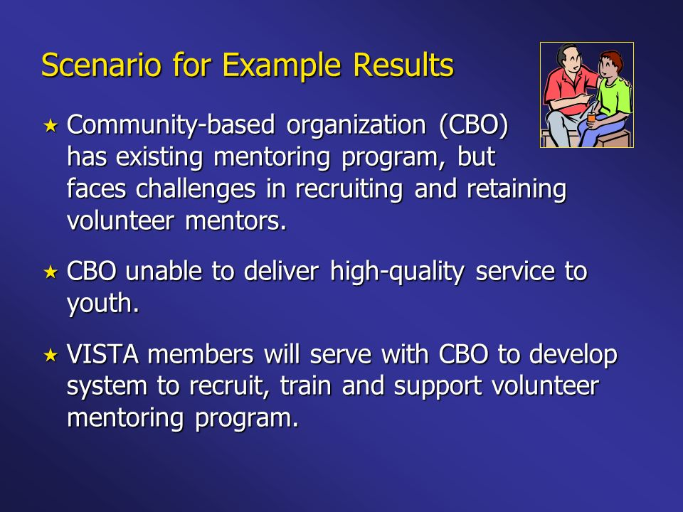 Scenario for Example Results Community-based organization (CBO) has existing mentoring program, but faces challenges in recruiting and retaining volun