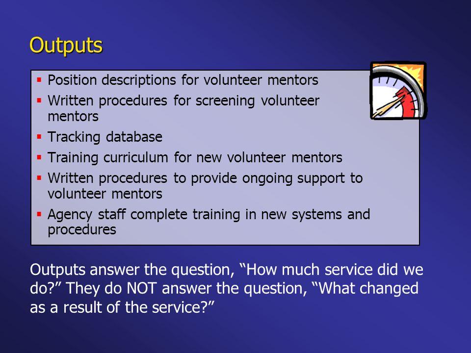 Position descriptions for volunteer mentors Written procedures for screening volunteer mentors Tracking database Training curriculum for new volunteer