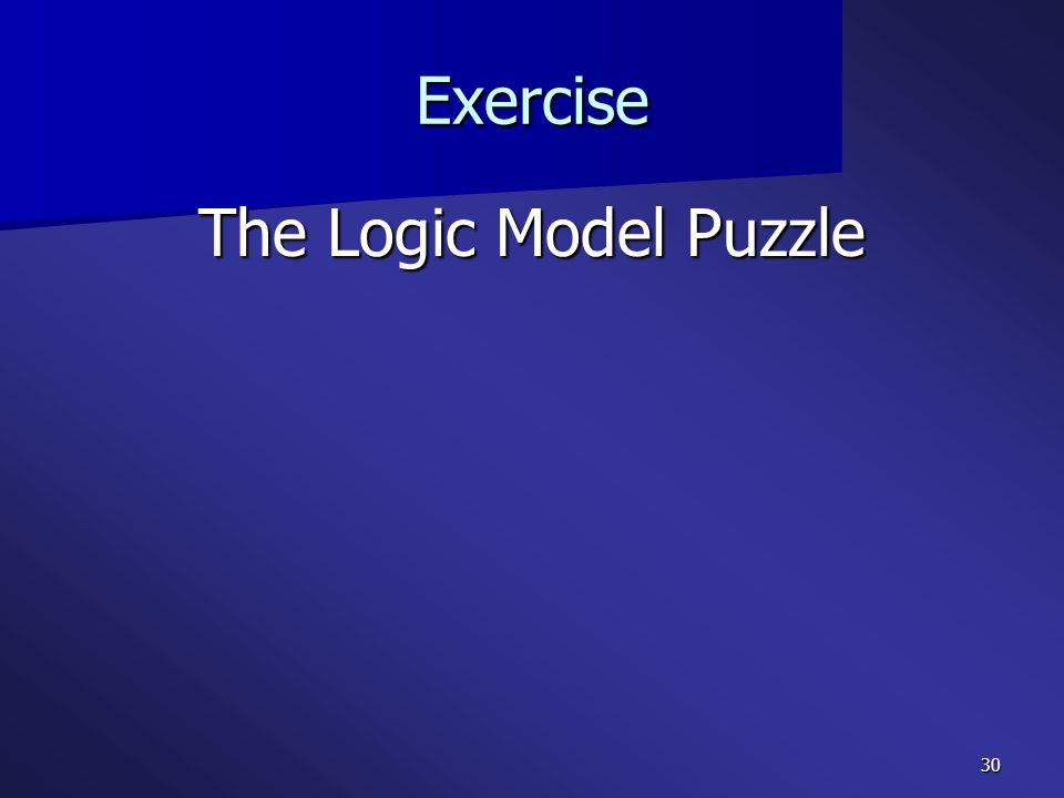 30 Exercise The Logic Model Puzzle