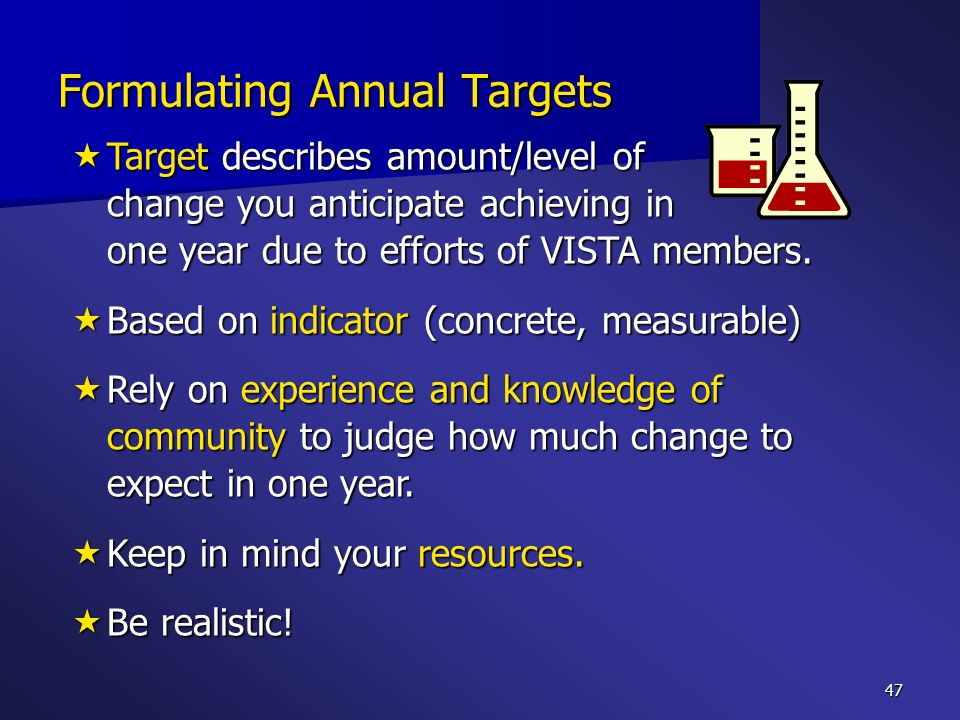 47 Target describes amount/level of change you anticipate achieving in one year due to efforts of VISTA members. Target describes amount/level of chan