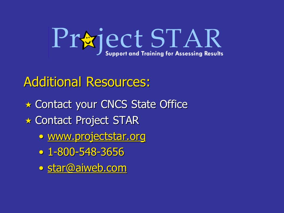 Additional Resources: Contact your CNCS State Office Contact your CNCS State Office Contact Project STAR Contact Project STAR www.projectstar.orgwww.p