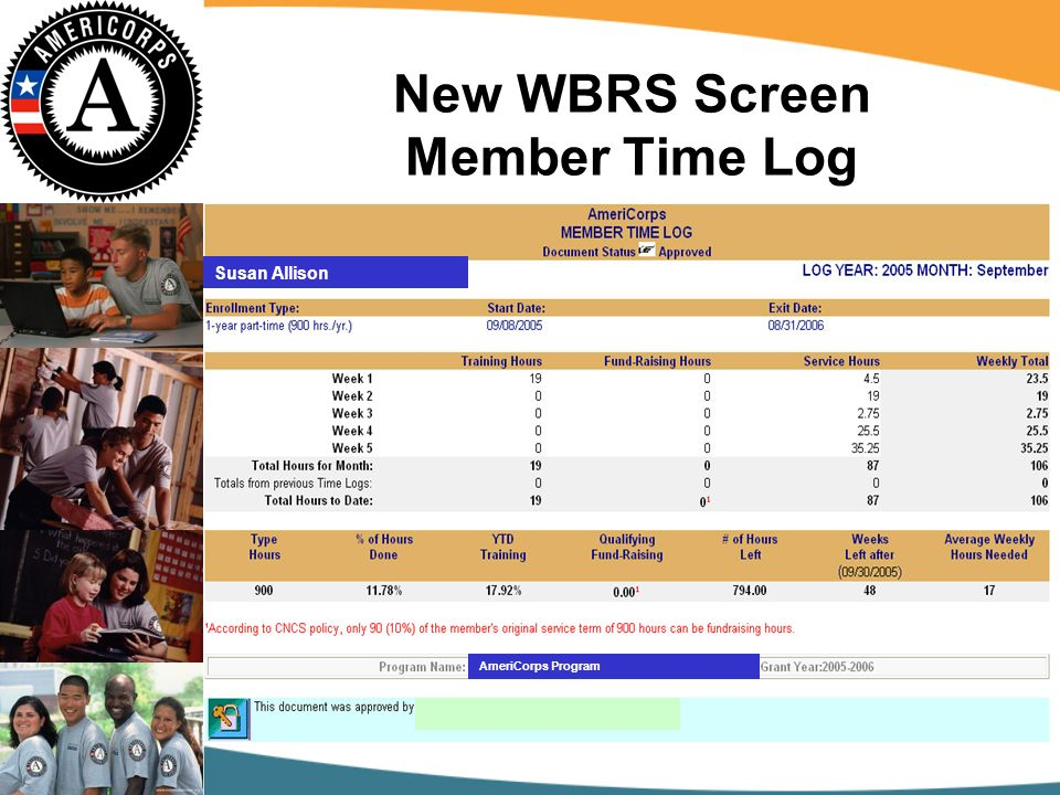 New WBRS Screen Member Time Log Susan Allison AmeriCorps Program