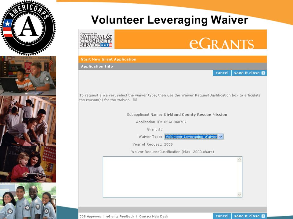 Volunteer Leveraging Waiver