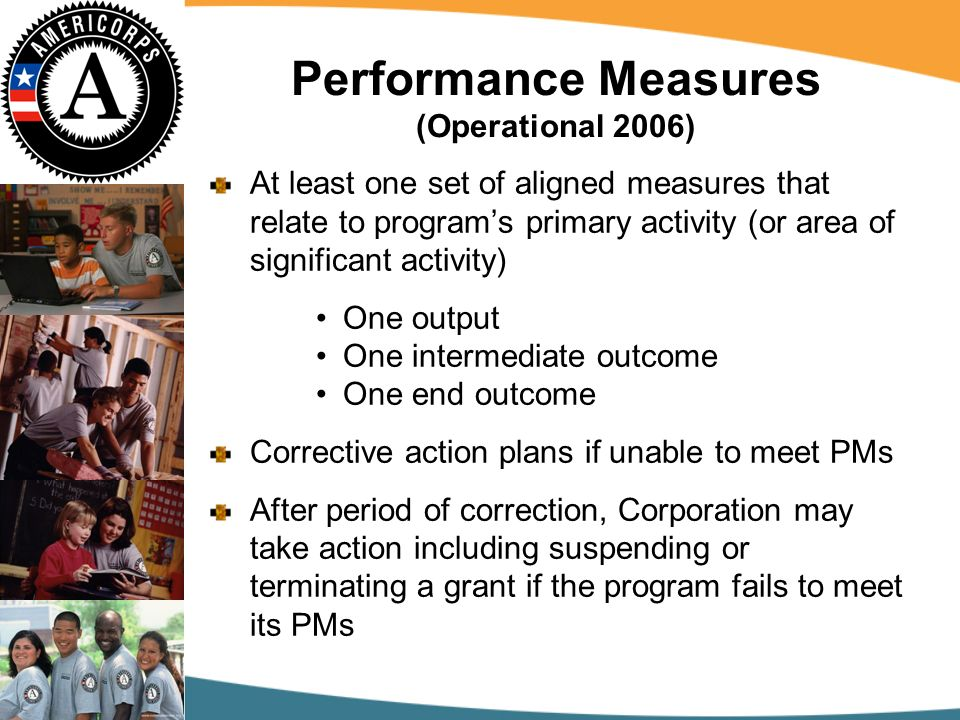 Performance Measures (Operational 2006) At least one set of aligned measures that relate to programs primary activity (or area of significant activity) One output One intermediate outcome One end outcome Corrective action plans if unable to meet PMs After period of correction, Corporation may take action including suspending or terminating a grant if the program fails to meet its PMs