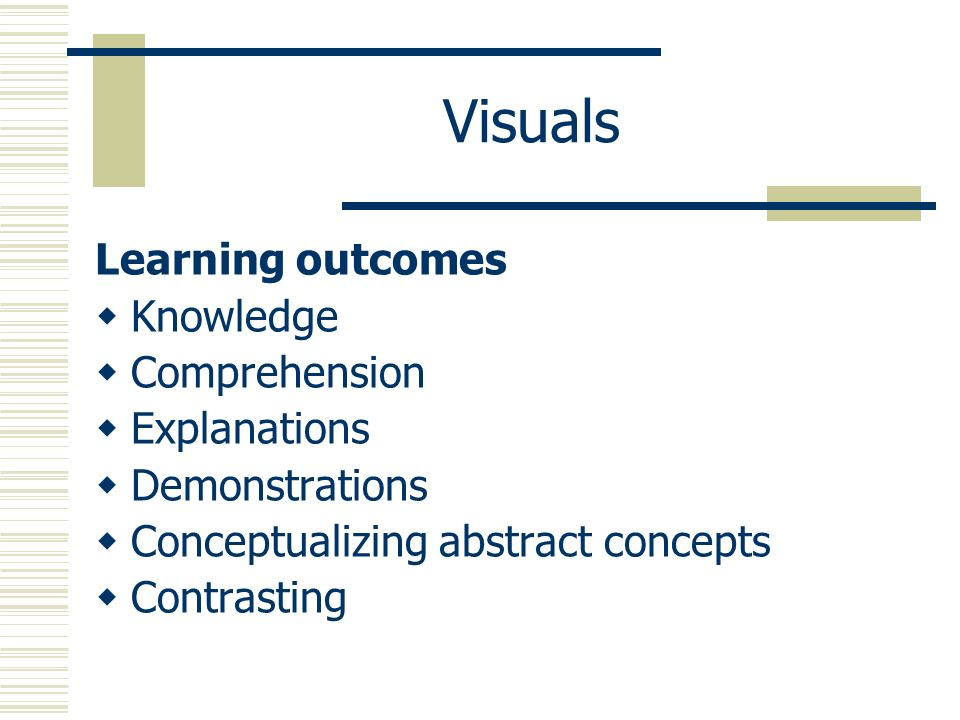 Visuals Learning outcomes Knowledge Comprehension Explanations Demonstrations Conceptualizing abstract concepts Contrasting