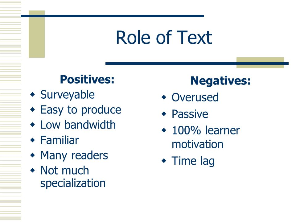 Role of Text Positives: Surveyable Easy to produce Low bandwidth Familiar Many readers Not much specialization Negatives: Overused Passive 100% learne