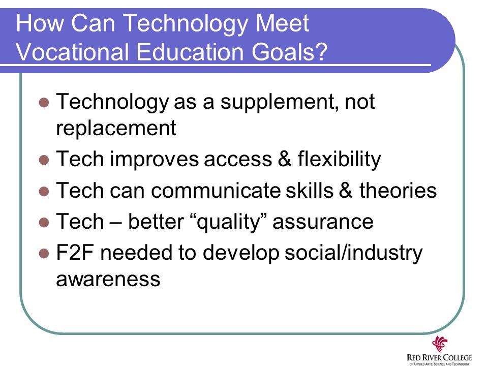 How Can Technology Meet Vocational Education Goals? Technology as a supplement, not replacement Tech improves access & flexibility Tech can communicat