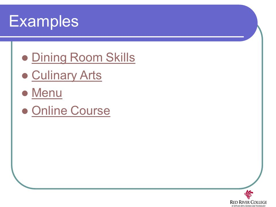Examples Dining Room Skills Culinary Arts Menu Online Course
