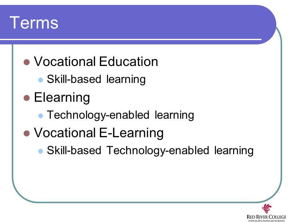 Terms Vocational Education Skill-based learning Elearning Technology-enabled learning Vocational E-Learning Skill-based Technology-enabled learning