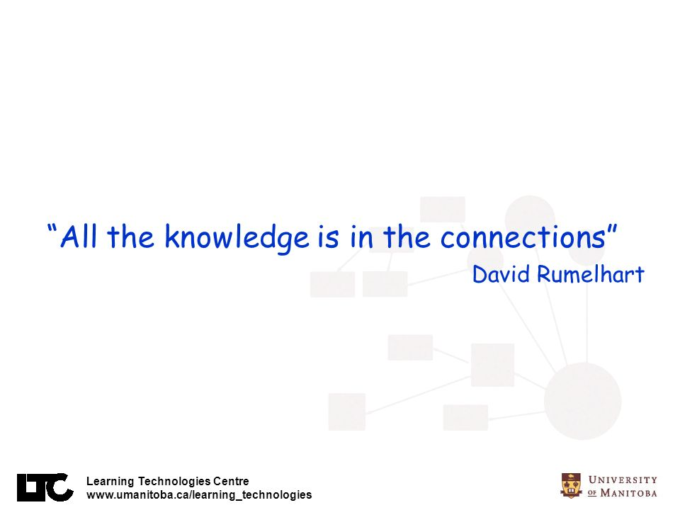 Learning Technologies Centre www.umanitoba.ca/learning_technologies All the knowledge is in the connections David Rumelhart