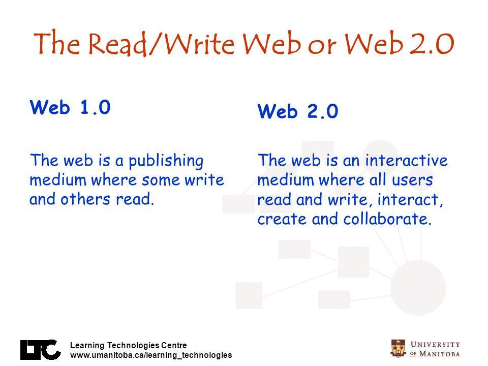 Learning Technologies Centre www.umanitoba.ca/learning_technologies The Read/Write Web or Web 2.0 Web 1.0 The web is a publishing medium where some write and others read.