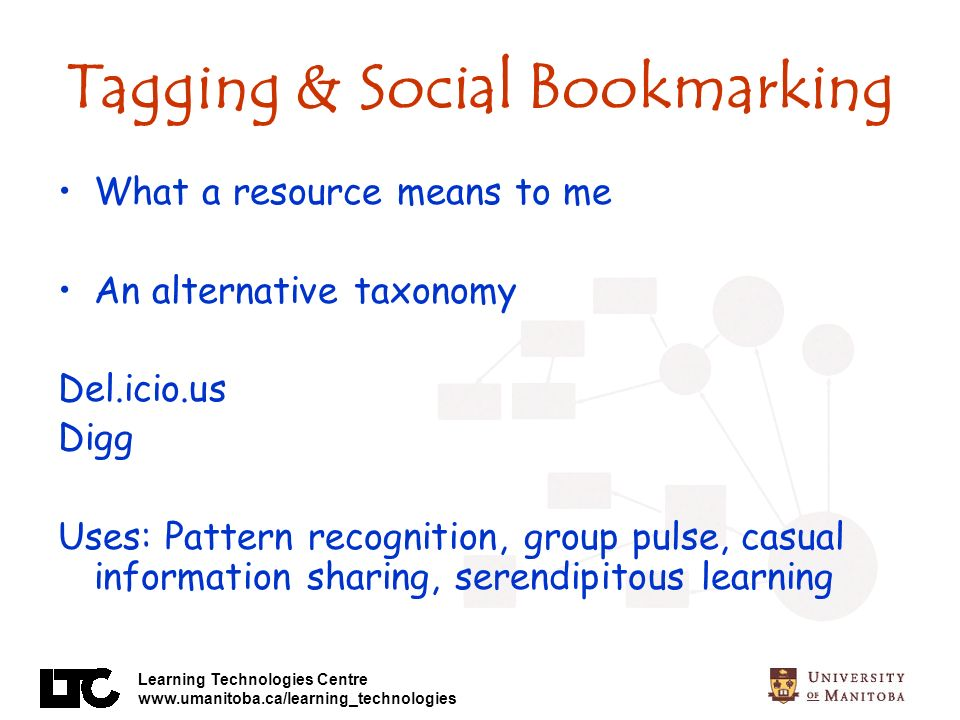 Learning Technologies Centre www.umanitoba.ca/learning_technologies Tagging & Social Bookmarking What a resource means to me An alternative taxonomy Del.icio.us Digg Uses: Pattern recognition, group pulse, casual information sharing, serendipitous learning