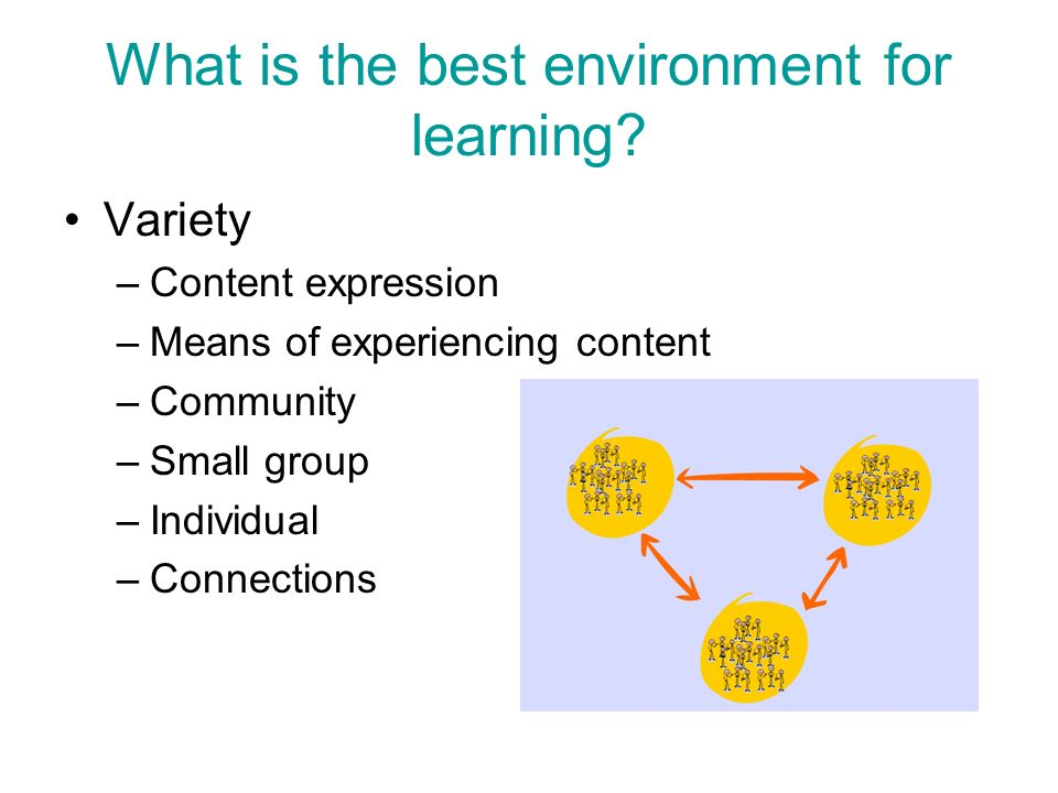 What is the best environment for learning? Variety –Content expression –Means of experiencing content –Community –Small group –Individual –Connections