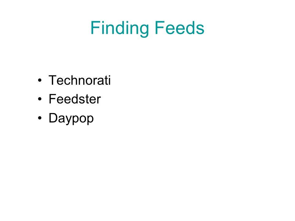 Finding Feeds Technorati Feedster Daypop